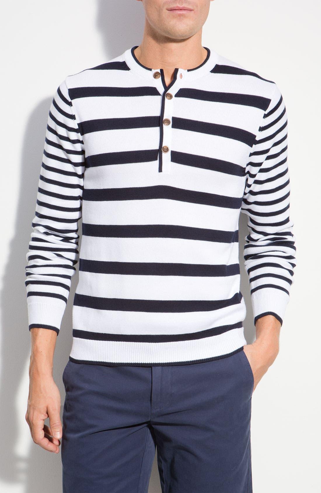 Main Image - Brooks Brothers Stripe Knit Henley