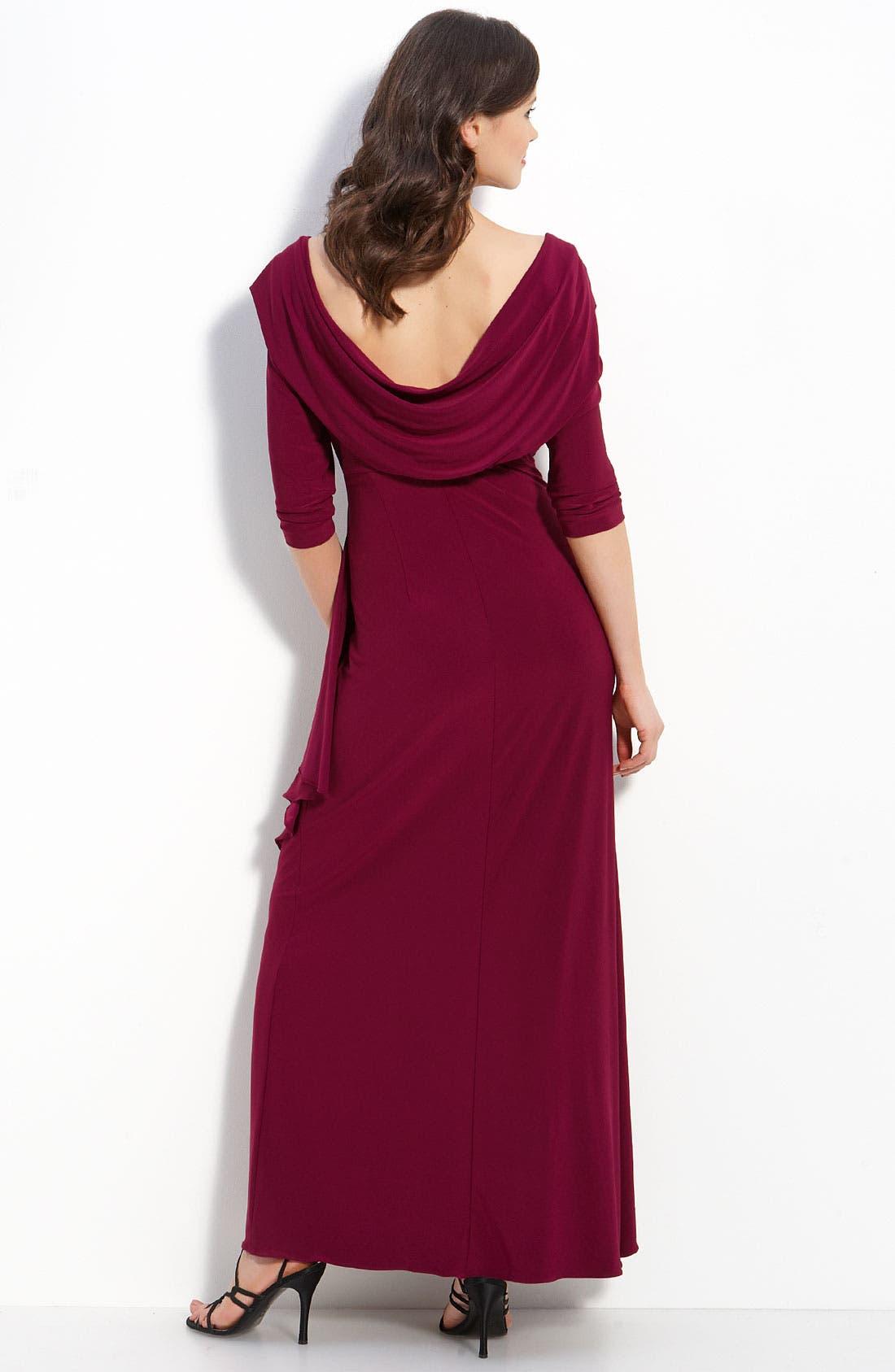 Alternate Image 2  - Alex Evenings Drape Back Jersey Gown (Petite)
