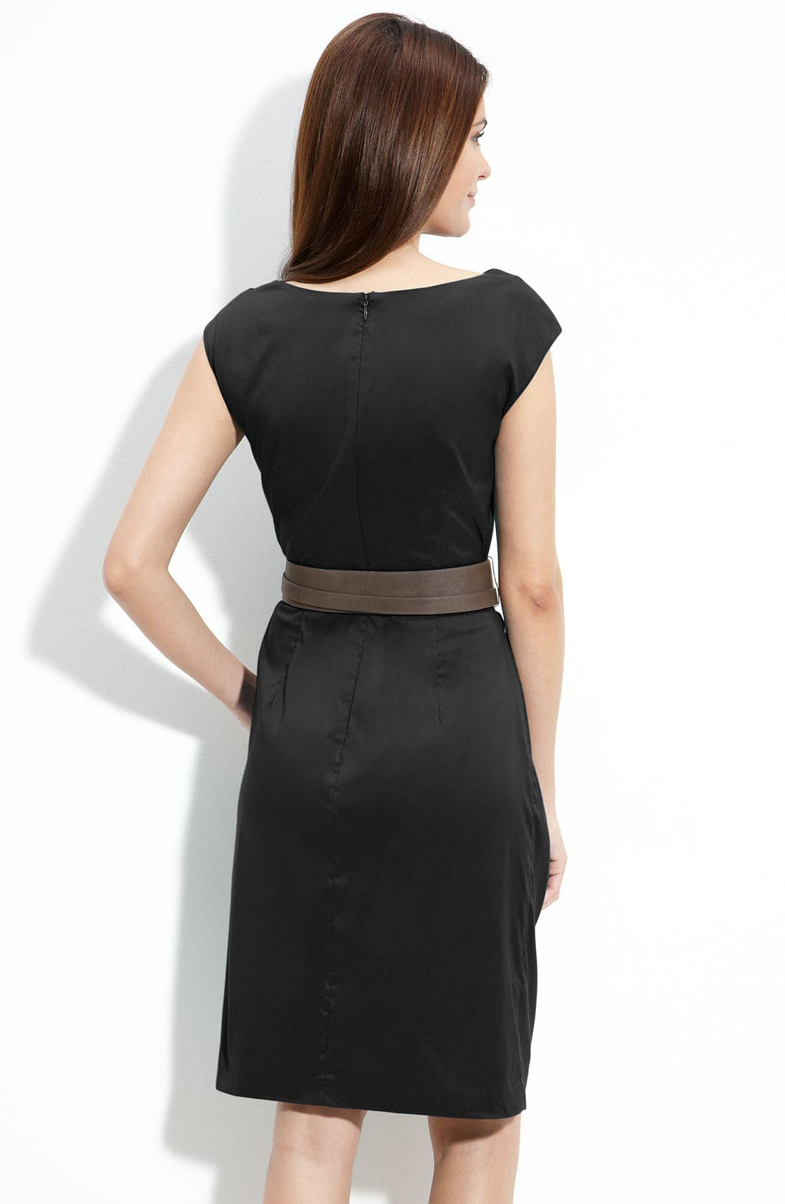 Alternate Image 2  - Suzi Chin for Maggy Boutique Twist Neck Belted Sheath Dress (Petite)