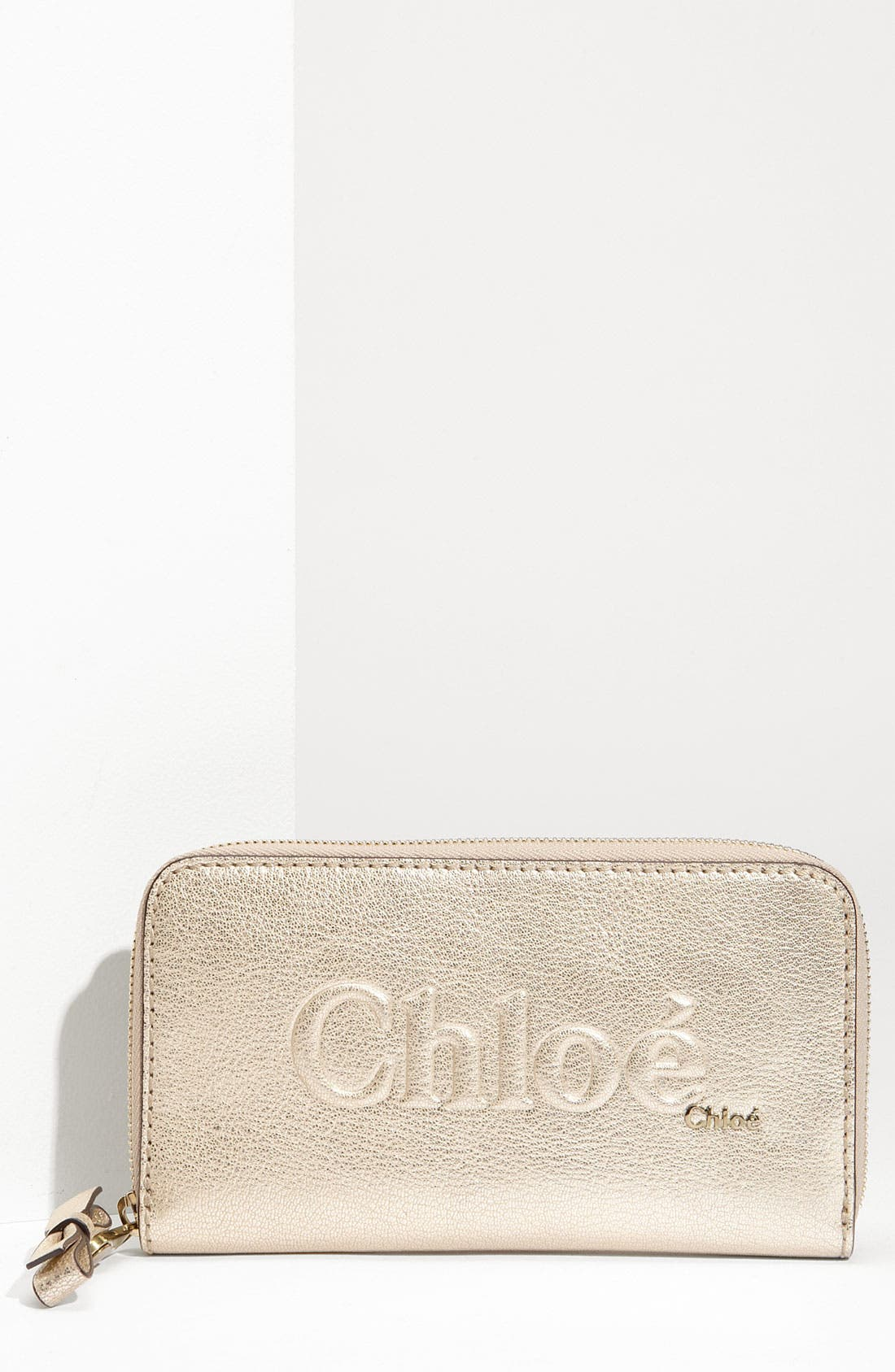 Main Image - Chloé 'Shadow Long' Metallic Leather Wallet