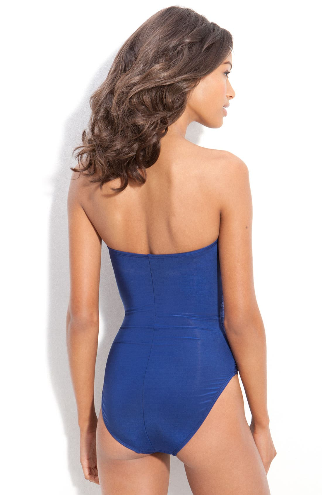 Alternate Image 2  - La Blanca 'Glimmer Girl' Shirred One Piece Bandeau Swimsuit