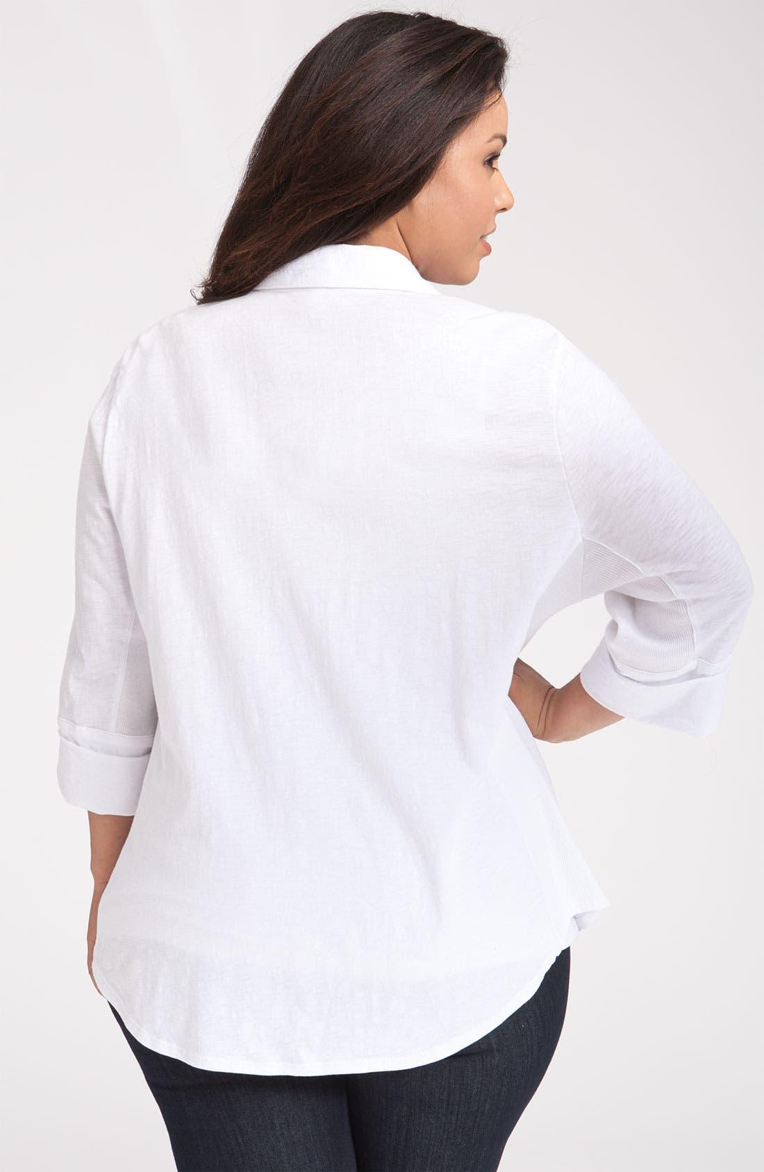 Alternate Image 2  - Sandra Ingrish Roll Sleeve Knit Shirt (Plus Size)