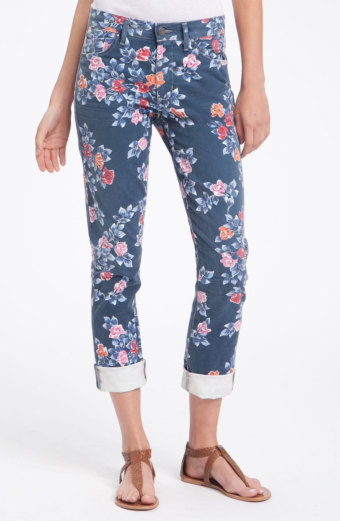 Alternate Image 2  - Citizens of Humanity 'Mandy' High Waist Slim Leg Floral Print Jeans (Navy Petite Rose)