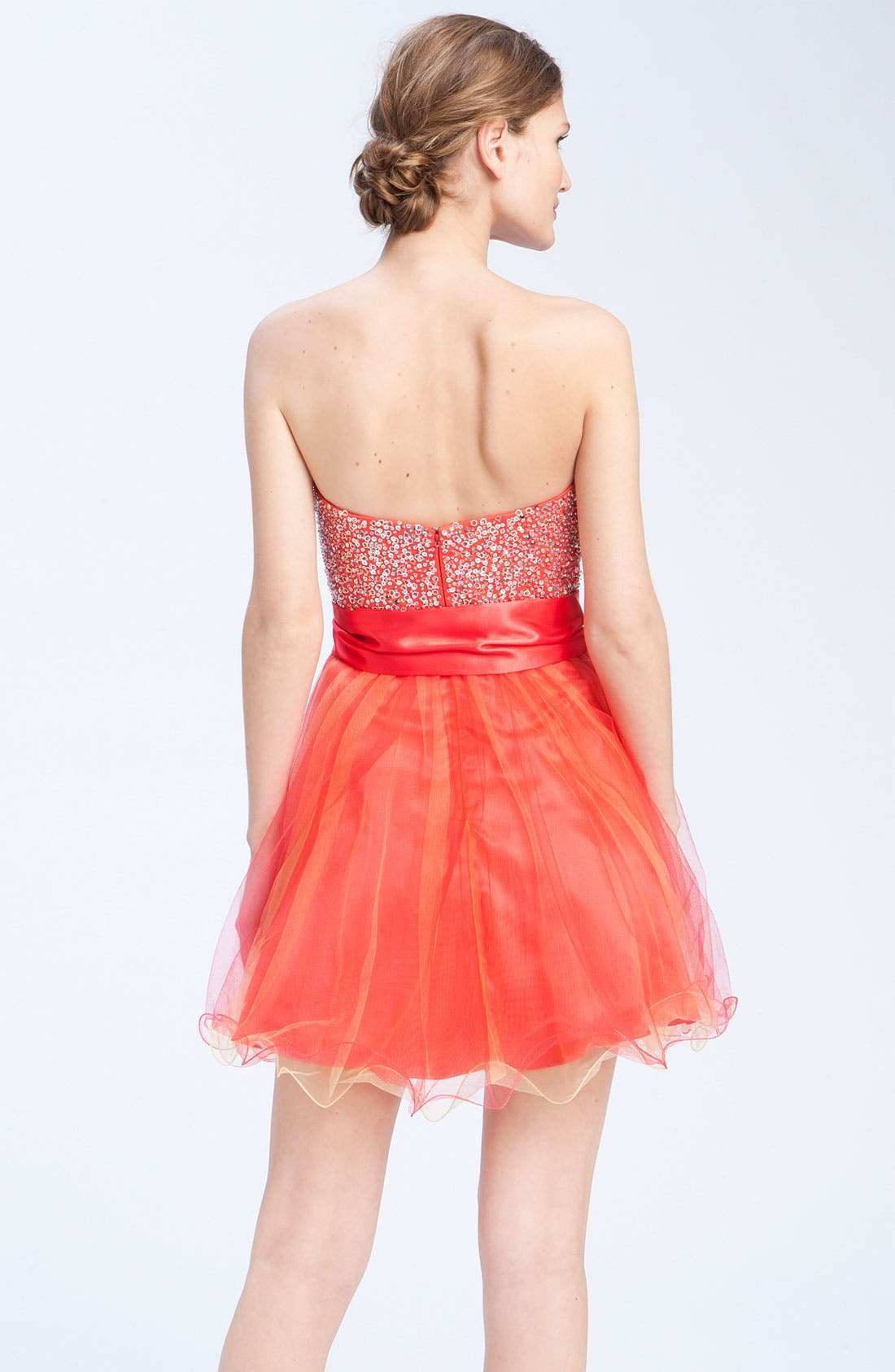 Alternate Image 2  - Sean Collection Embellished Strapless Tulle Cocktail Dress (Online Only)