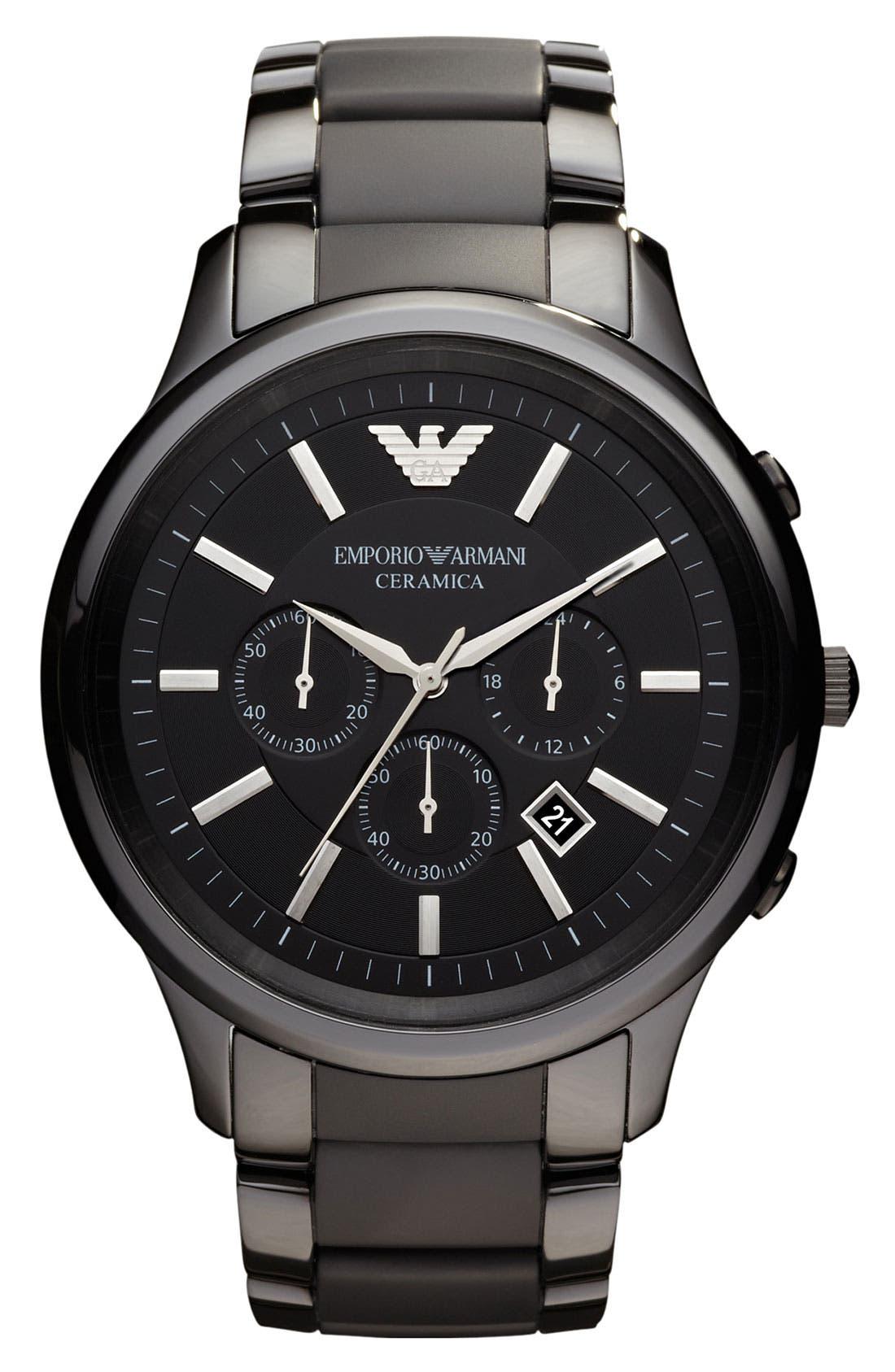 Alternate Image 1 Selected - Emporio Armani Large Ceramic Chronograph Watch, 47mm