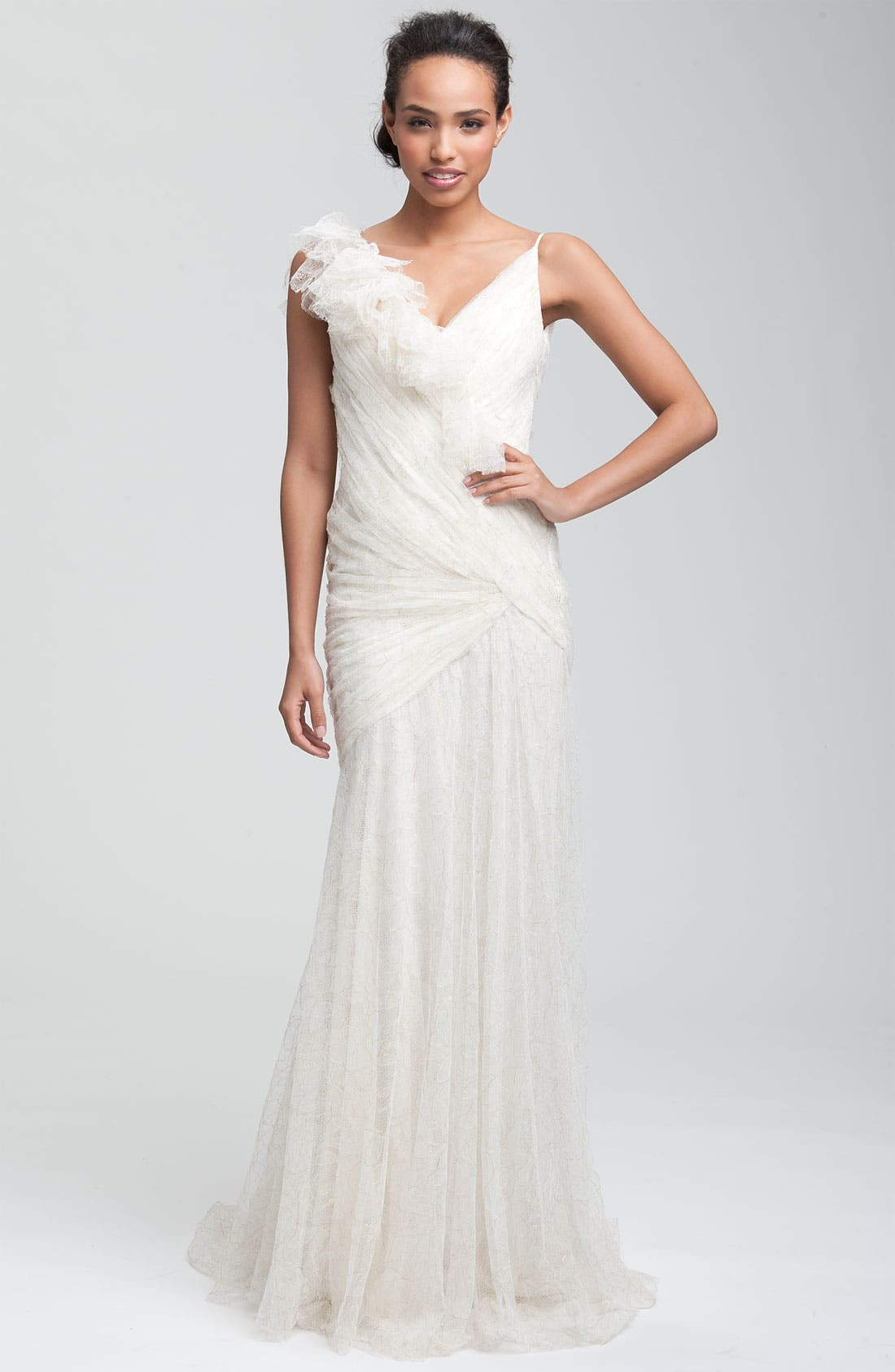 Alternate Image 1 Selected - Carmen Marc Valvo Drape Bodice Tulle Gown