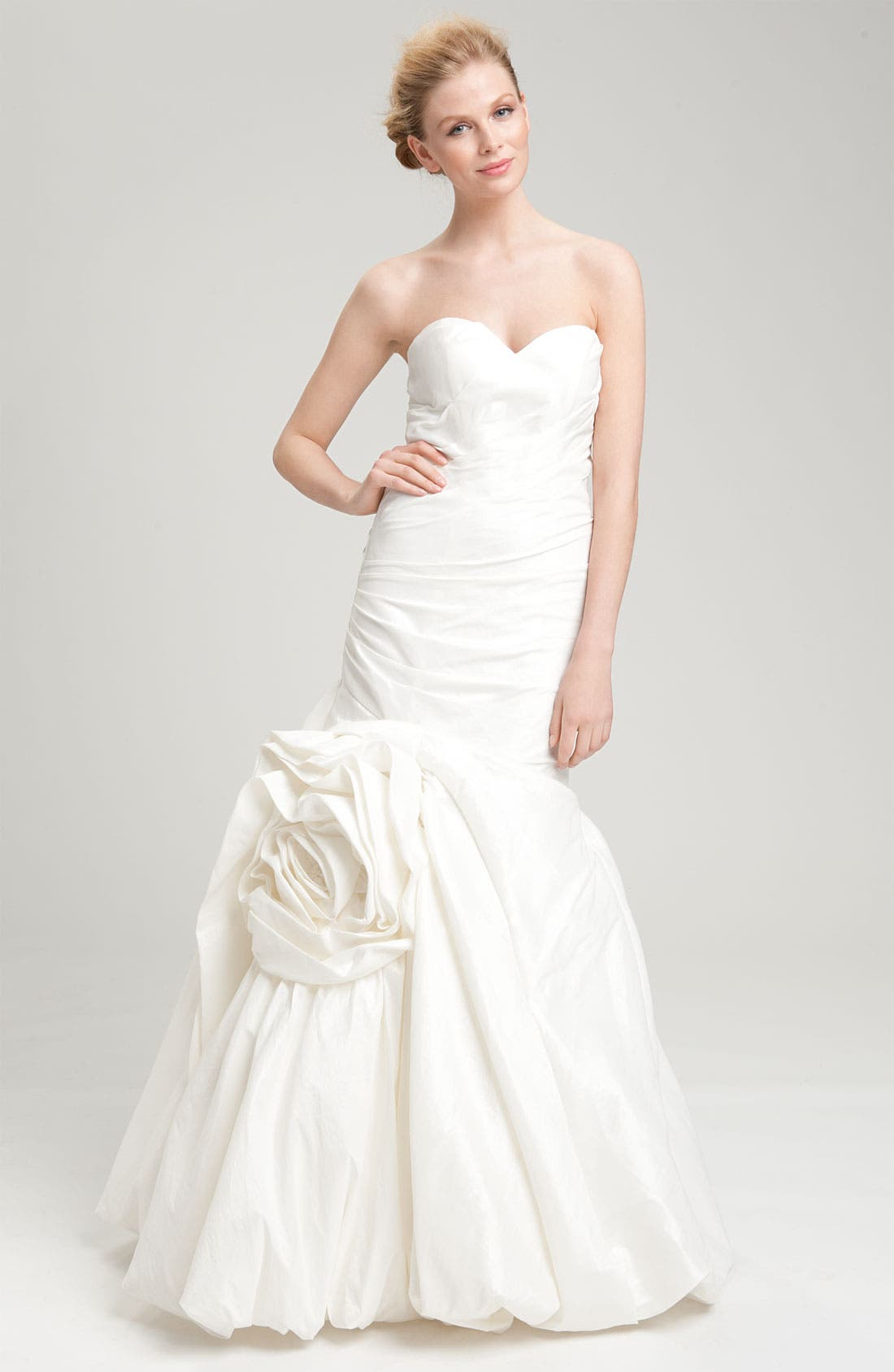 Main Image - Faviana Mermaid Skirt Rosette Detail Taffeta Gown