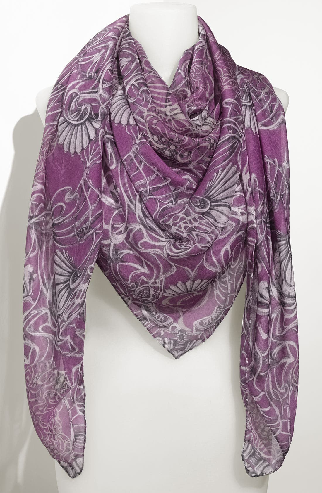 Alternate Image 1 Selected - Alexander McQueen 'Art Nouveau' Chiffon Square Scarf