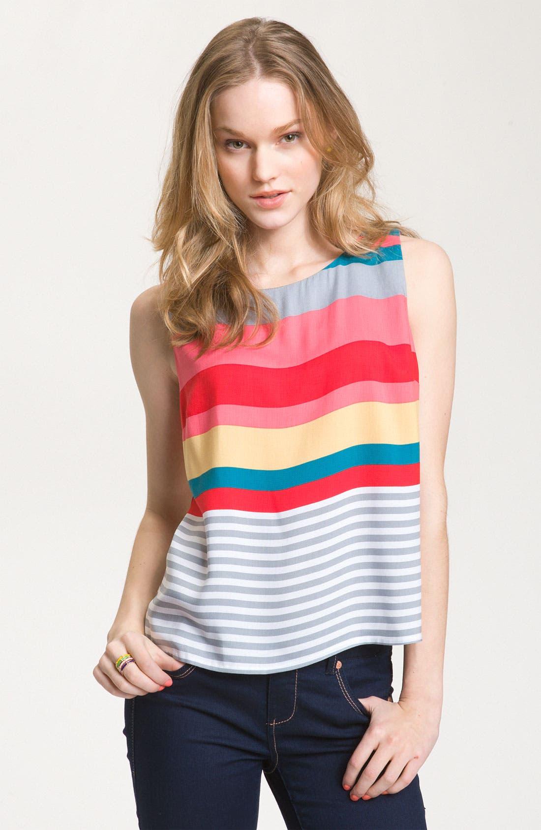 Main Image - WallpapHer Bright Stripe Sleeveless Top