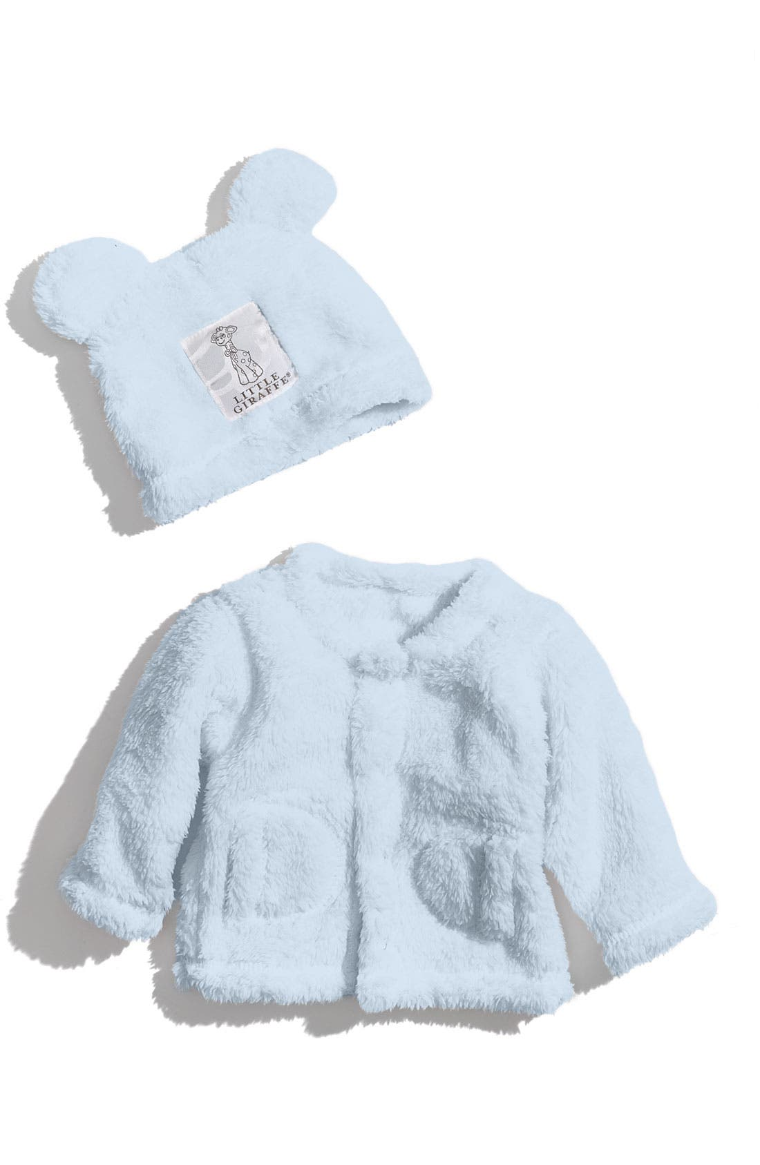 Main Image - Little Giraffe Cardigan & Cap Set (Baby)