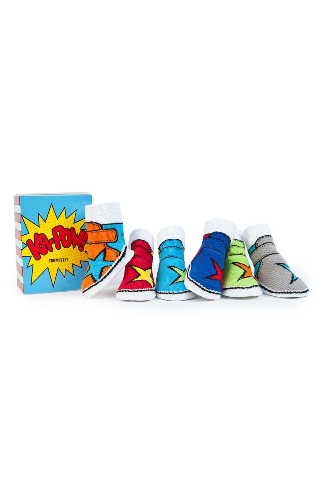 Alternate Image 1 Selected - Trumpette 'Ka Pow' Socks Gift Set (Baby Boys)