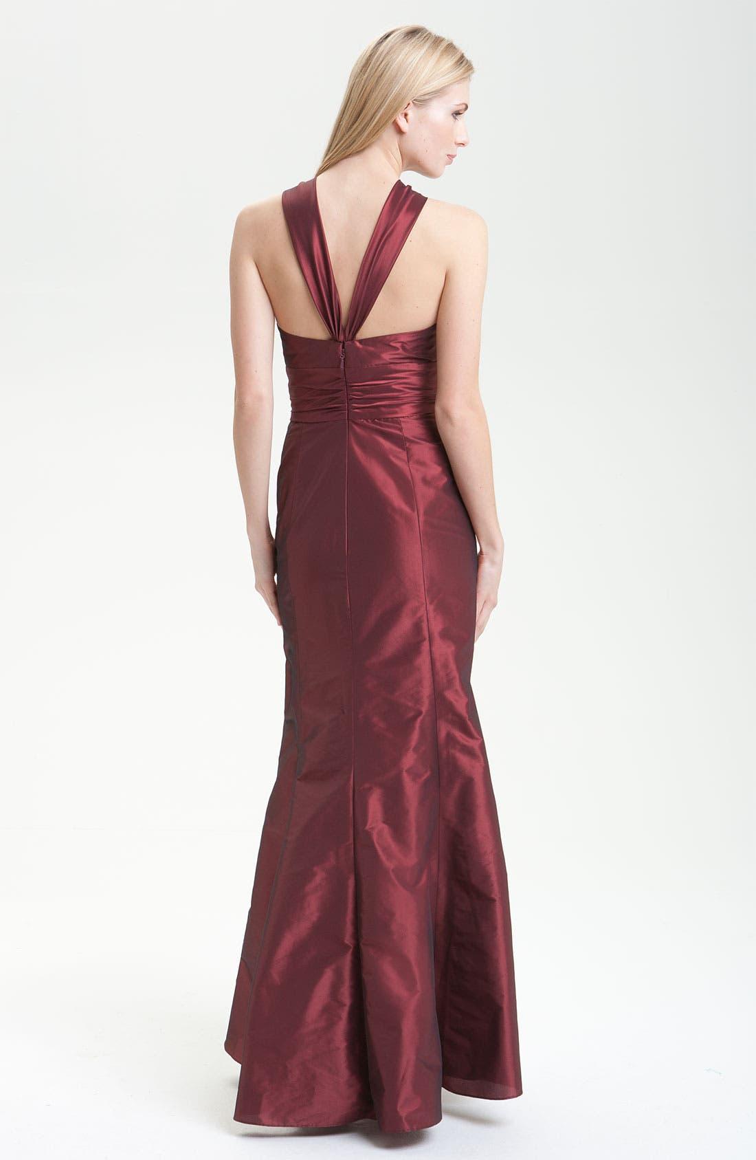 Alternate Image 2  - Amsale Trumpet Skirt Taffeta Halter Gown