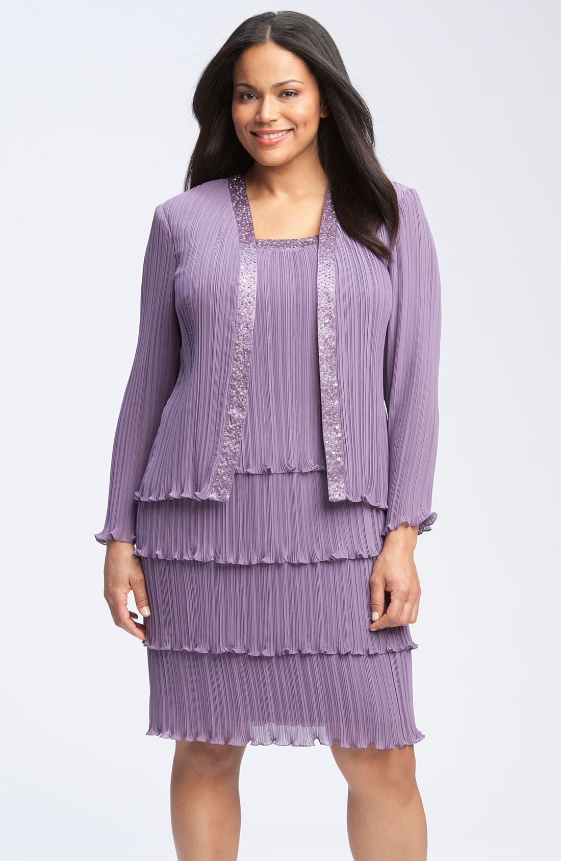 Alternate Image 1 Selected - Patra One Piece Chiffon Jacket Dress (Plus)