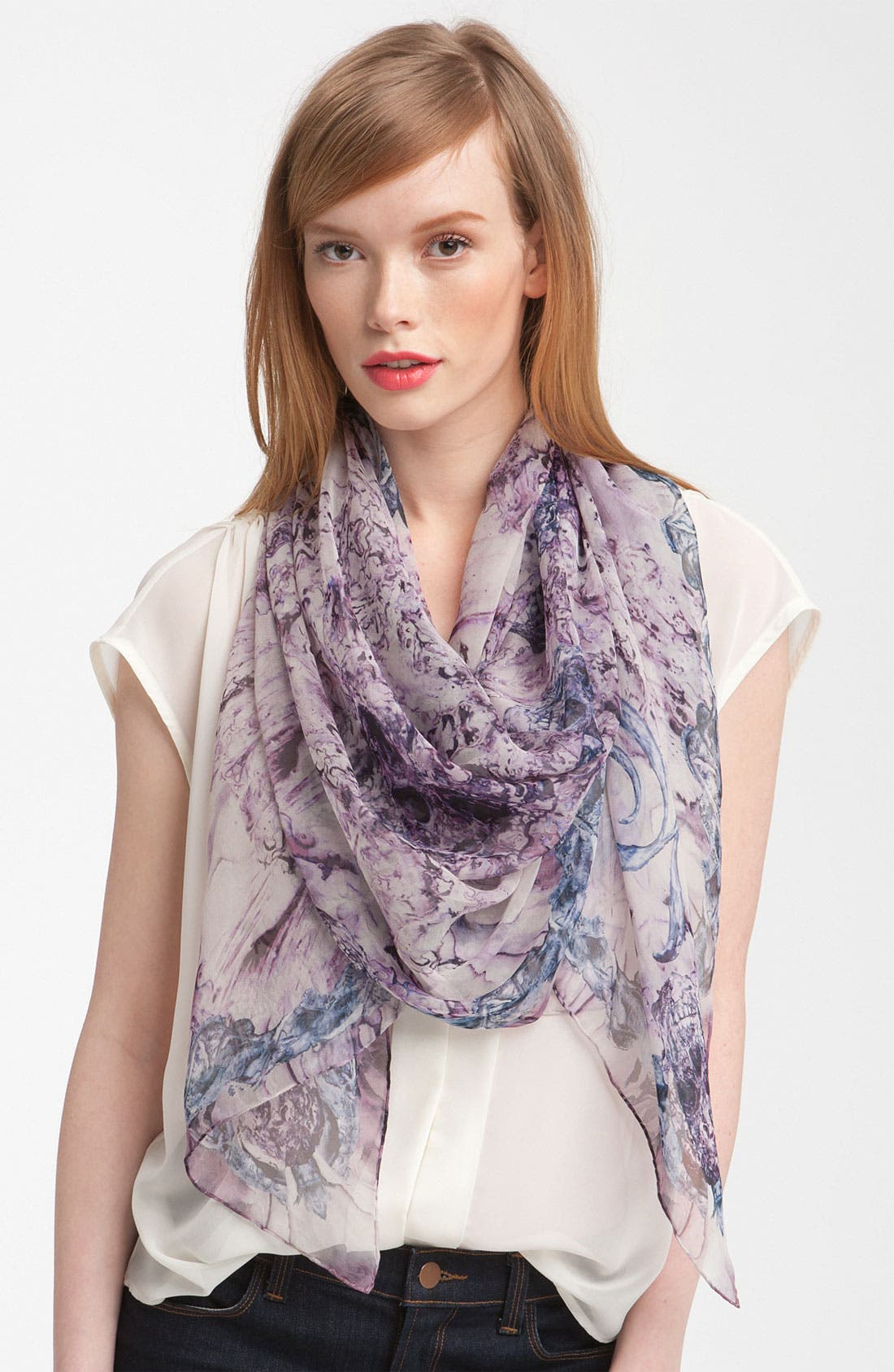 Main Image - Alexander McQueen 'Mother of Pearl' Chiffon Scarf