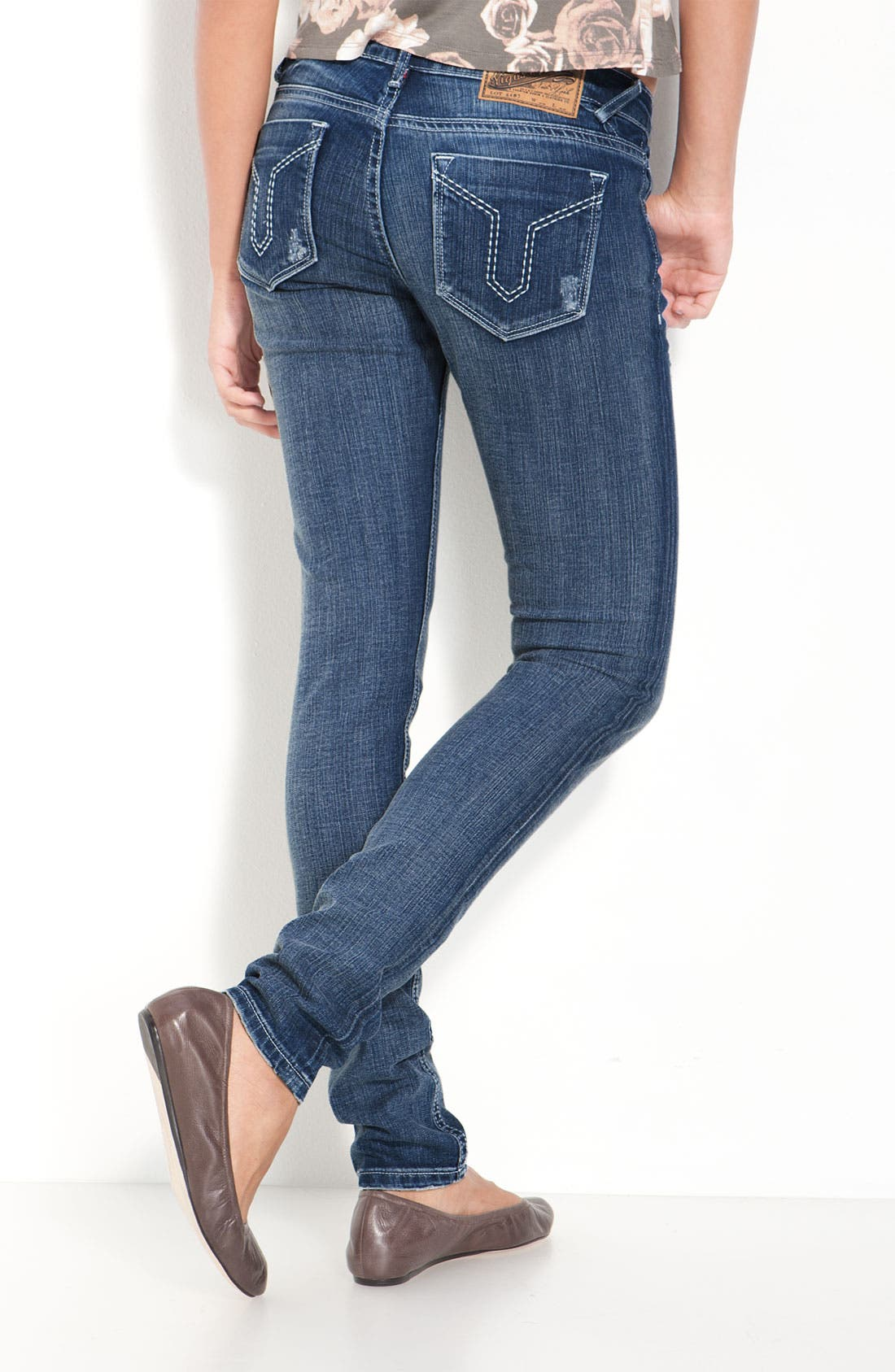 Alternate Image 1 Selected - Vigoss 'Double V' Skinny Stretch Jeans (Juniors)