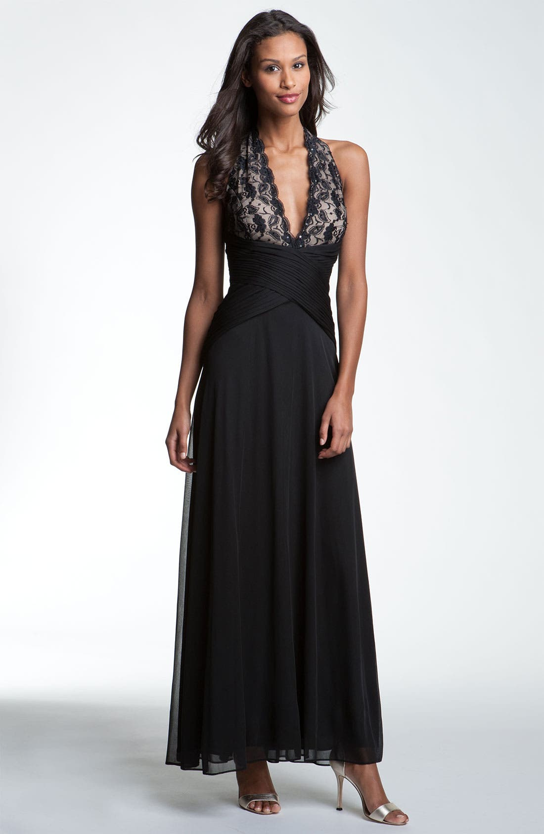 Main Image - Betsy & Adam Lace & Mesh Halter Gown
