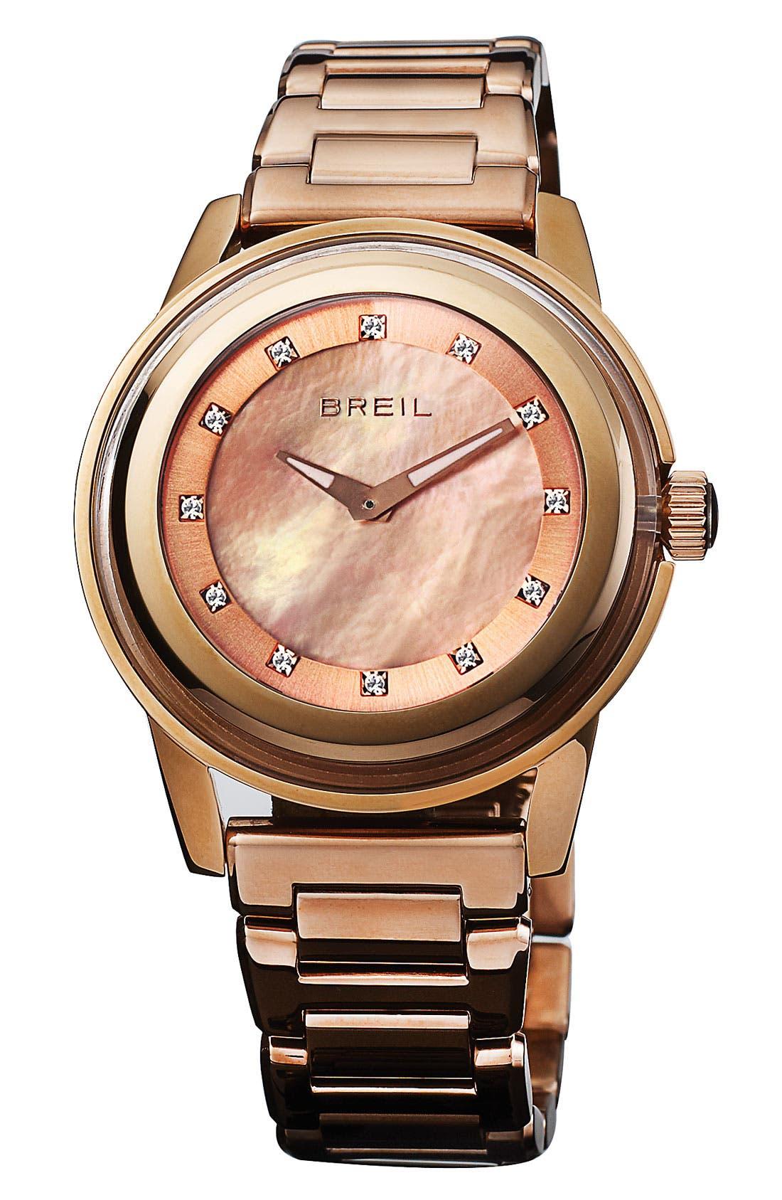Alternate Image 1 Selected - Breil 'Orchestra' Crystal & Rose Gold Bracelet Watch, 40mm
