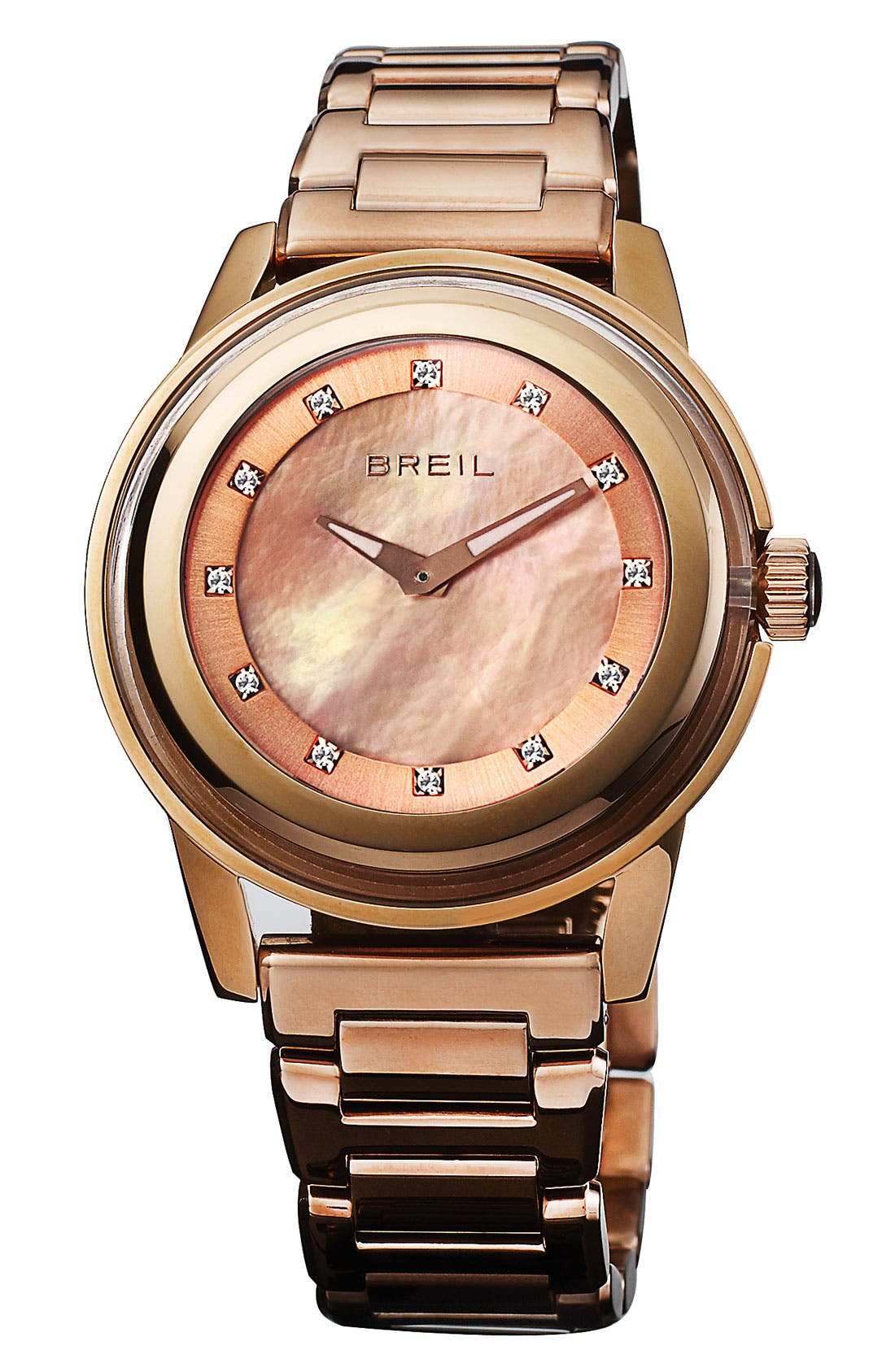 Main Image - Breil 'Orchestra' Crystal & Rose Gold Bracelet Watch, 40mm