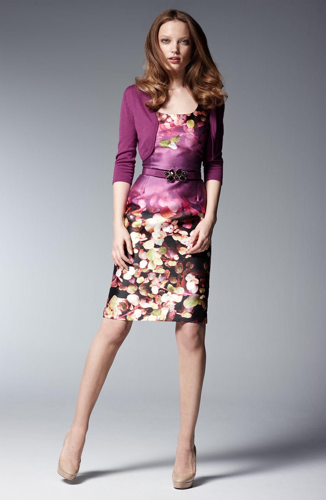 Alternate Image 5  - Oscar de la Renta Leaf Print Silk & Cotton Dress