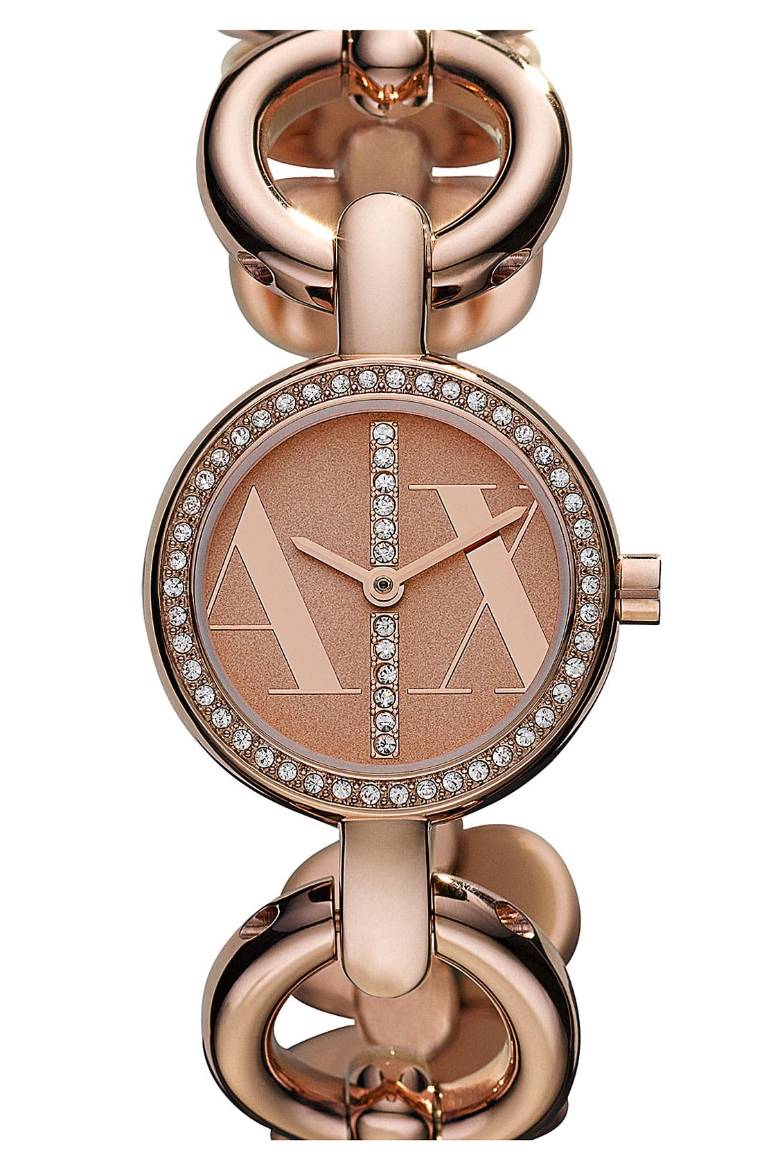 Main Image - AX Armani Exchange Crystal Bezel Bracelet Watch, 26mm