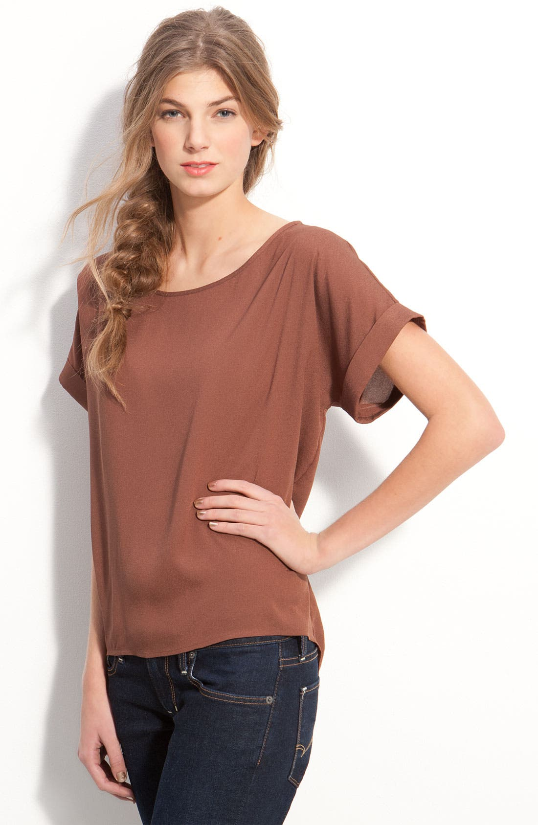 Alternate Image 1 Selected - Frenchi® Cuffed Short Sleeve Boxy Top (Juniors)