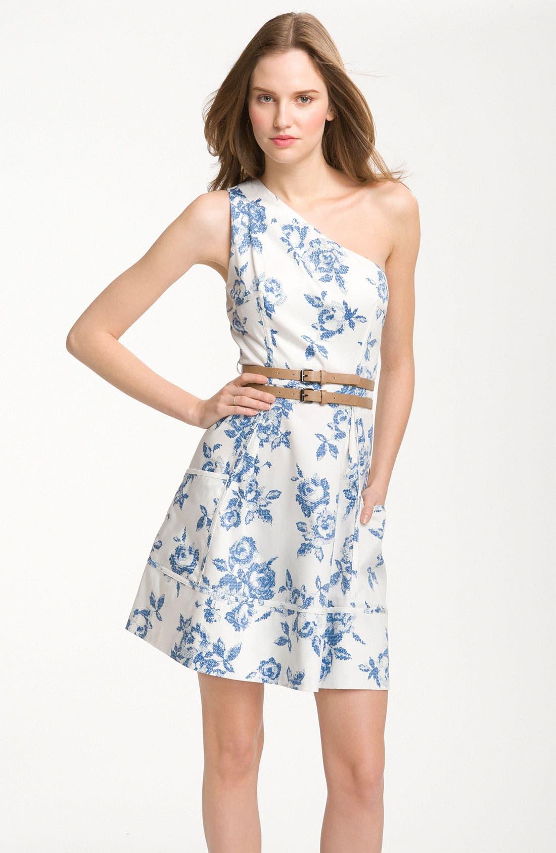 Alternate Image 1 Selected - Jessica Simpson One Shoulder Print Cotton Dress