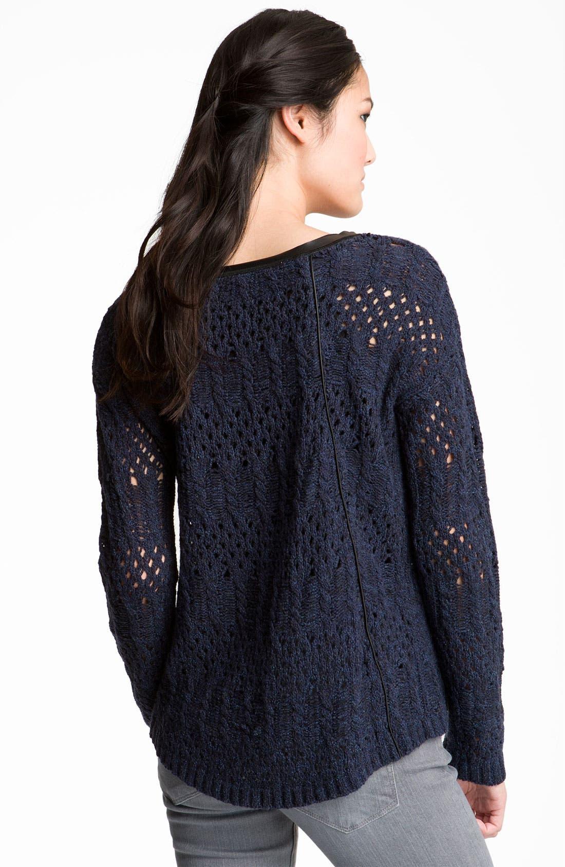 Alternate Image 2  - Trouvé Faux Leather Trim Open Knit Sweater