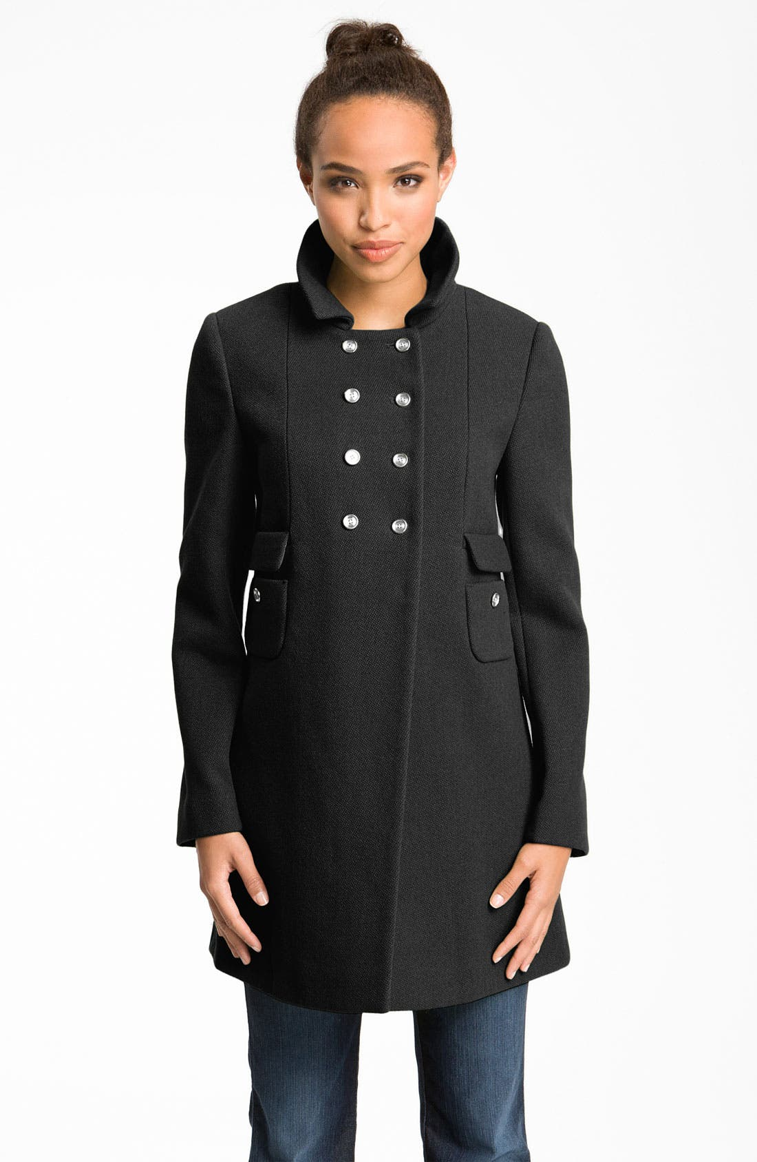 Alternate Image 1 Selected - Calvin Klein High Double Breasted Textured Peacoat