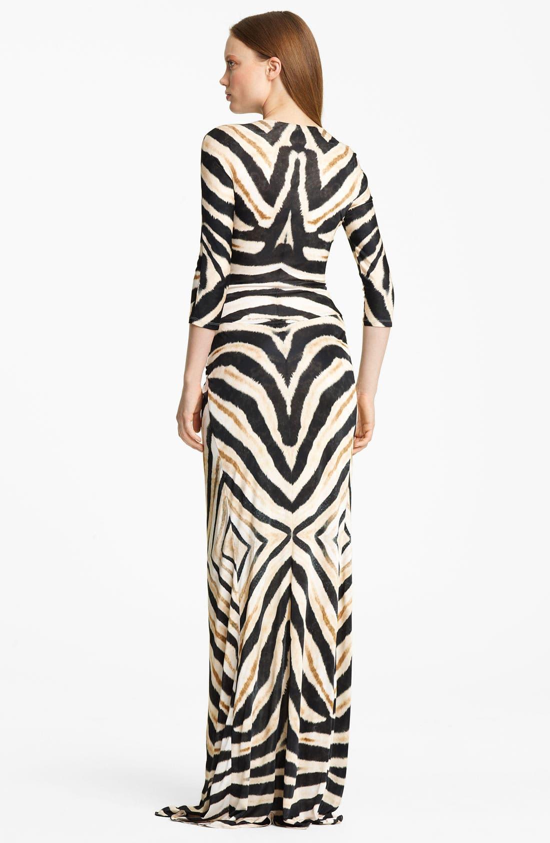 Alternate Image 2  - Roberto Cavalli Zebra Print Jersey Gown