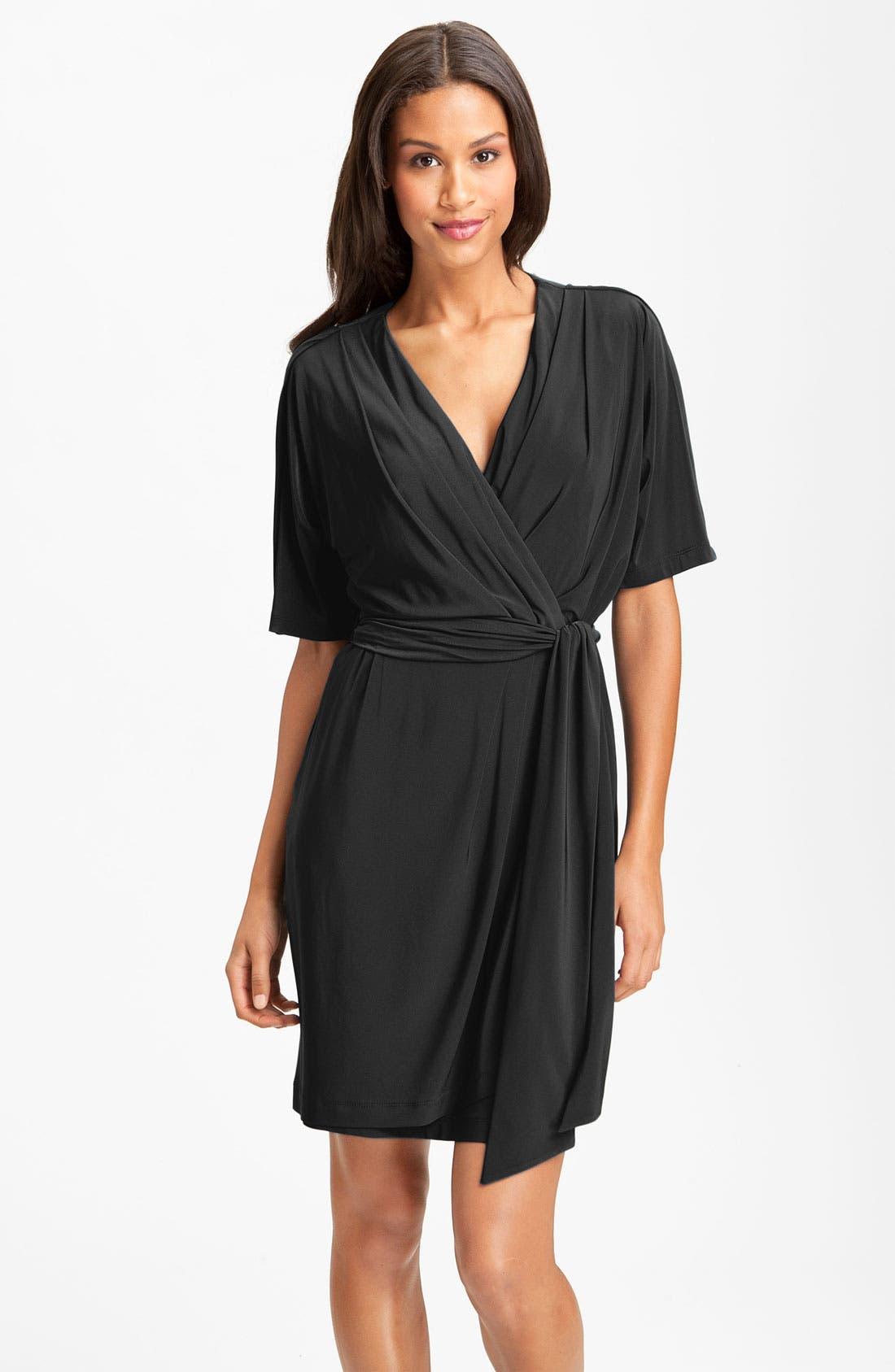 Main Image - Eliza J Surplice Jersey Faux Wrap Dress