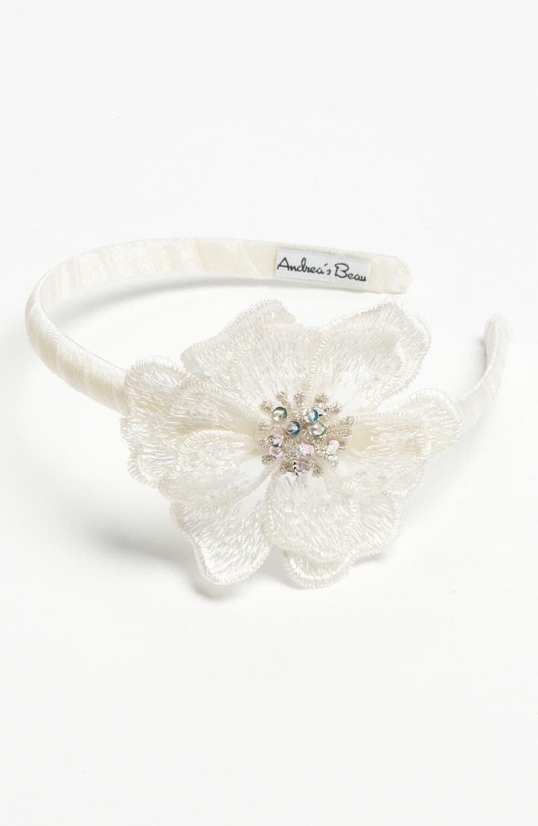 Main Image - Andrea's Beau Flower Headband (Girls)