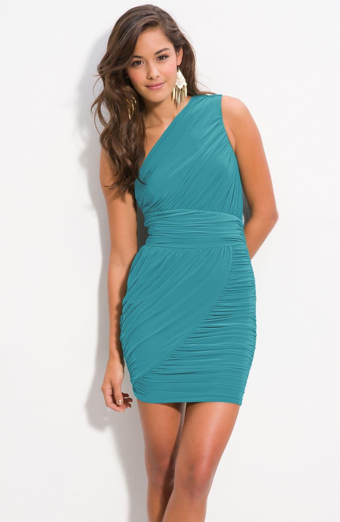 Main Image - Soprano Ruched One Shoulder Dress (Juniors)