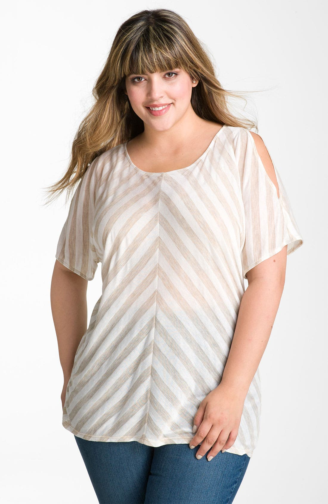 Main Image - Gibson Stripe Cold Shoulder Top (Plus)