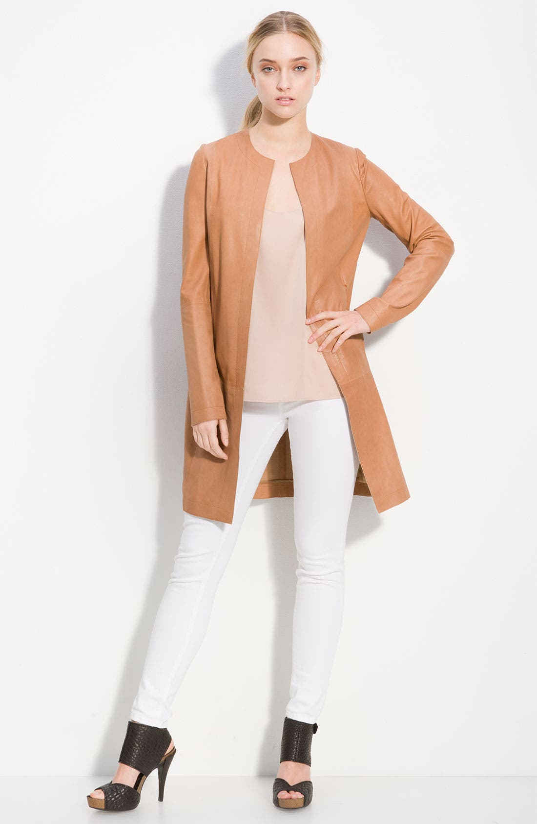 Alternate Image 1 Selected - Vince Lambskin Leather Coat