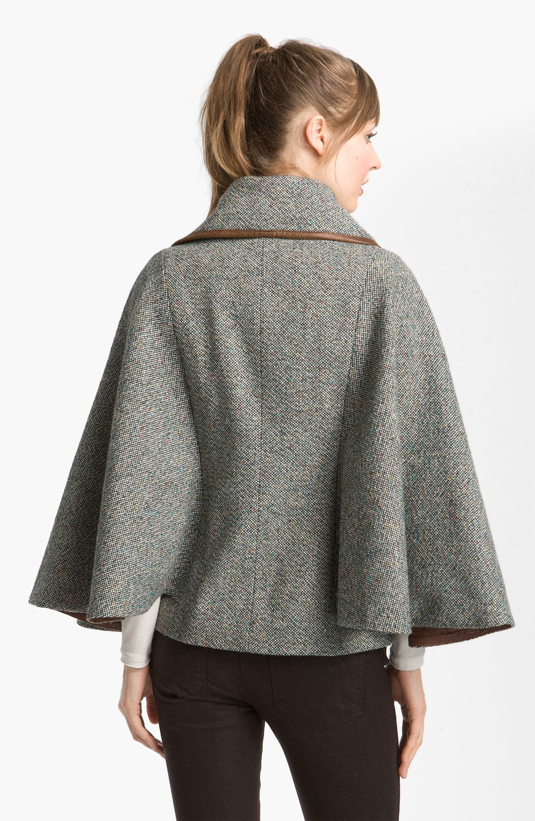 Alternate Image 2  - GUESS Leather Trim Tweed Cape