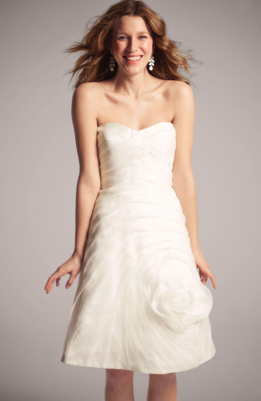 Alternate Image 4  - Carmen Marc Valvo Pleated Rosette Silk Chiffon Dress
