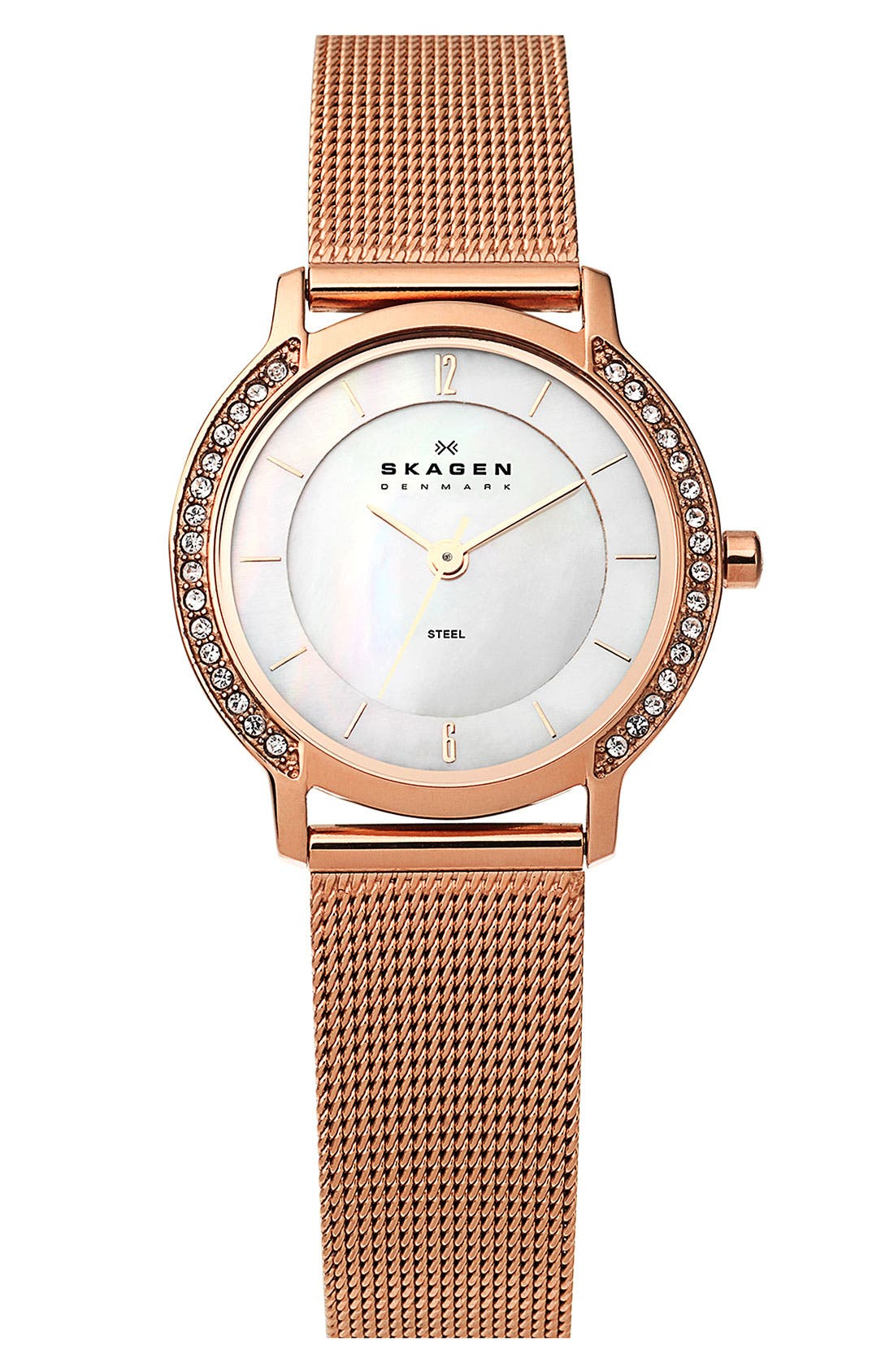 Main Image - Skagen Round Crystal Mesh Strap Watch
