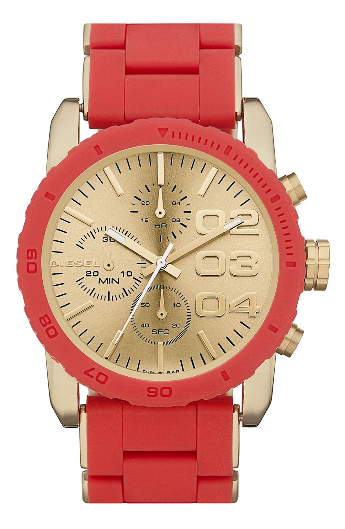 Main Image - DIESEL® 'Franchise' Chronograph Silicone Bracelet Watch, 42mm