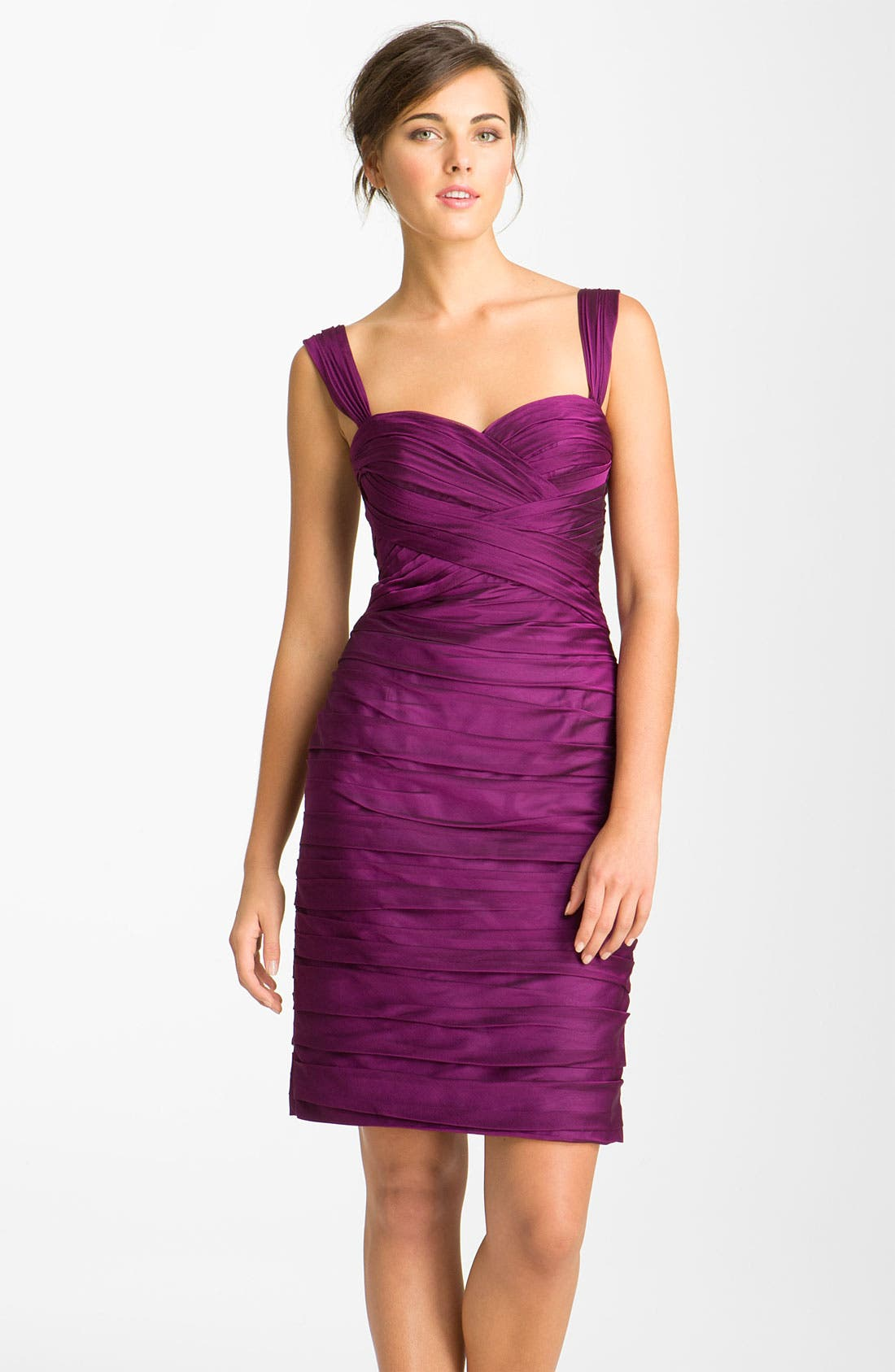 Alternate Image 1 Selected - ML Monique Lhuillier Bridesmaids Pleated Sweetheart Chiffon Dress (Nordstrom Exclusive)