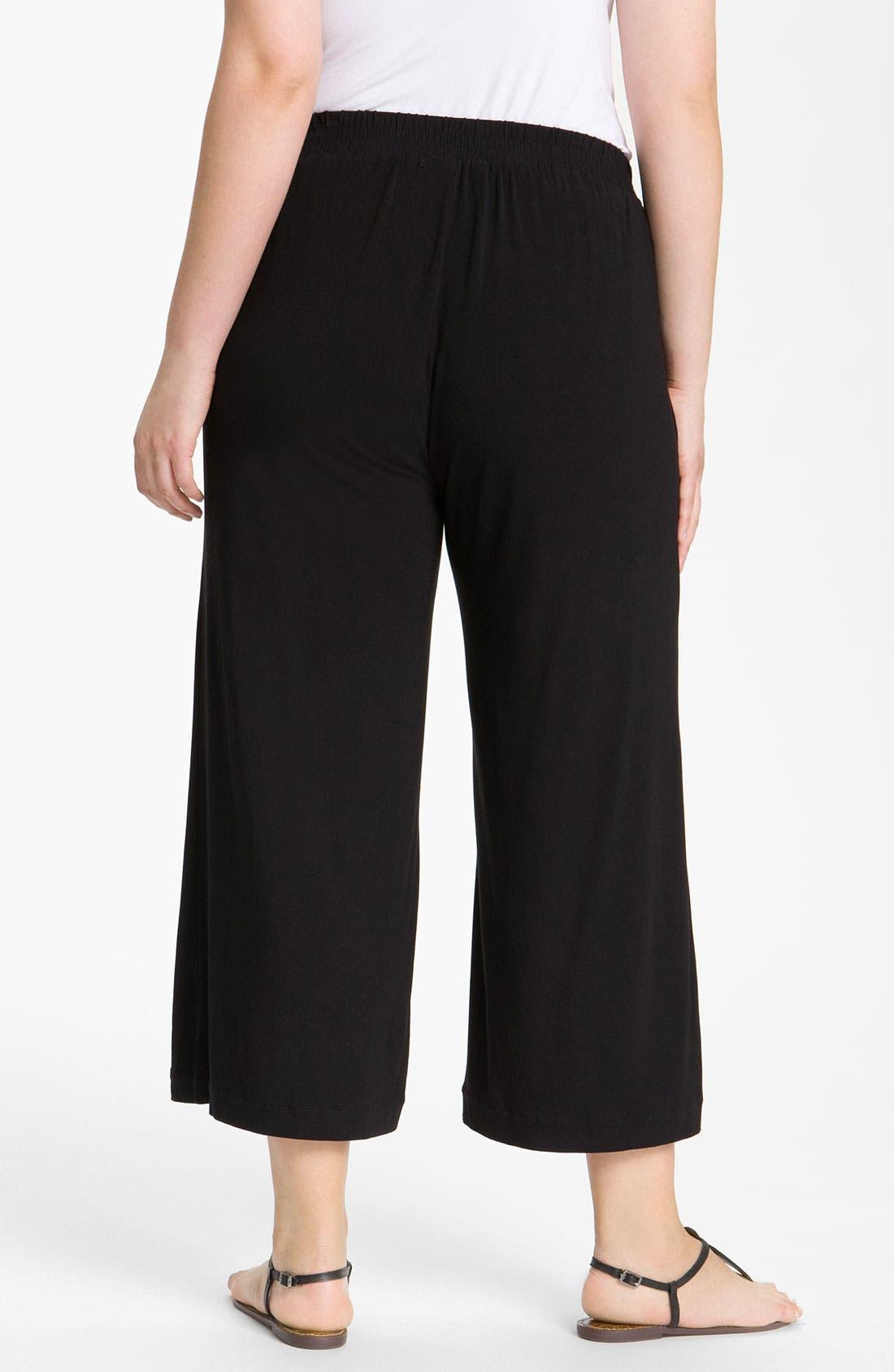 Alternate Image 2  - Sejour Wide Leg Crop Knit Pants (Plus)