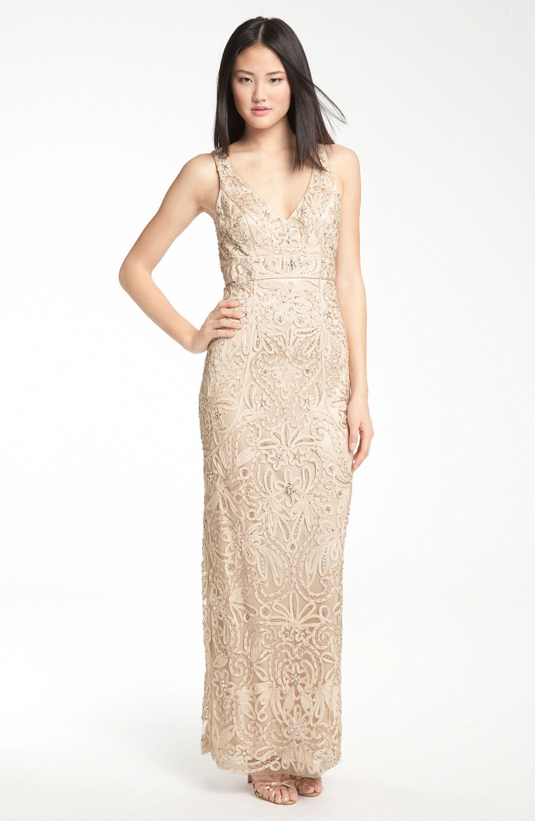 Main Image - Sue Wong V-Neck Embroidery & Bead Overlay Gown