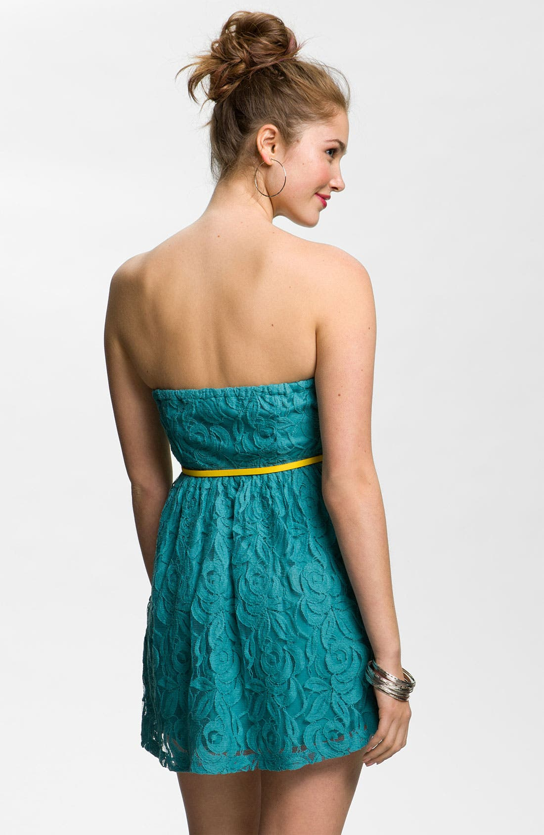 Alternate Image 2  - Fire Belted Strapless Lace Dress (Juniors)