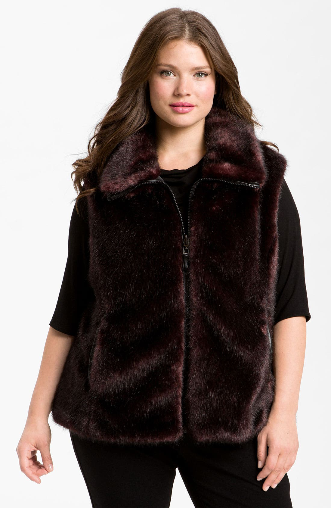 Alternate Image 1 Selected - Gallery Reversible Faux Fur Vest (Plus) (Online Exclusive)