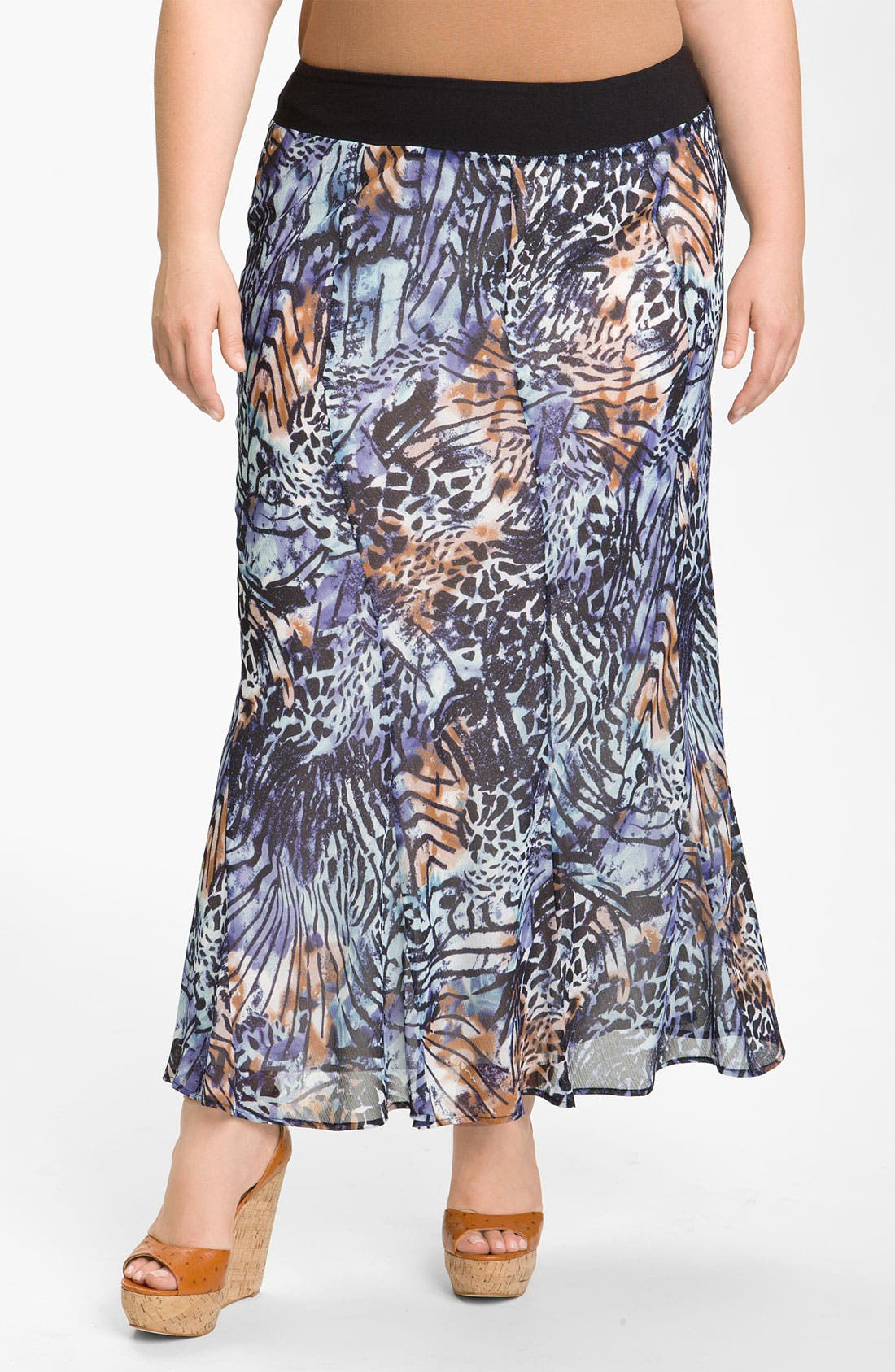 Alternate Image 1 Selected - Nic + Zoe 'Pattern Play' Long Skirt (Plus)