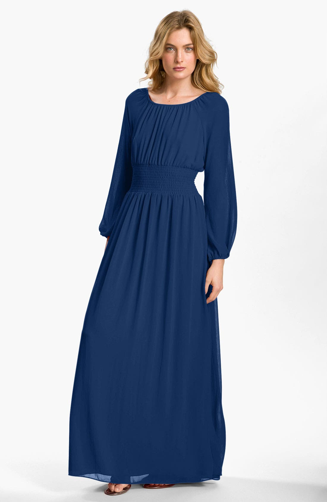 Alternate Image 1 Selected - Adrianna Papell Smocked Chiffon Maxi Dress