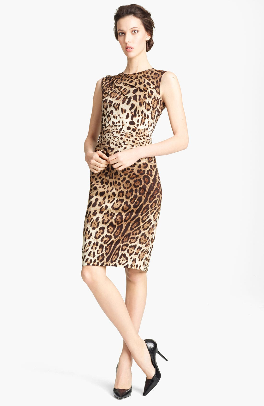 Alternate Image 1 Selected - Dolce&Gabbana Leopard Print Stretch Silk Dress