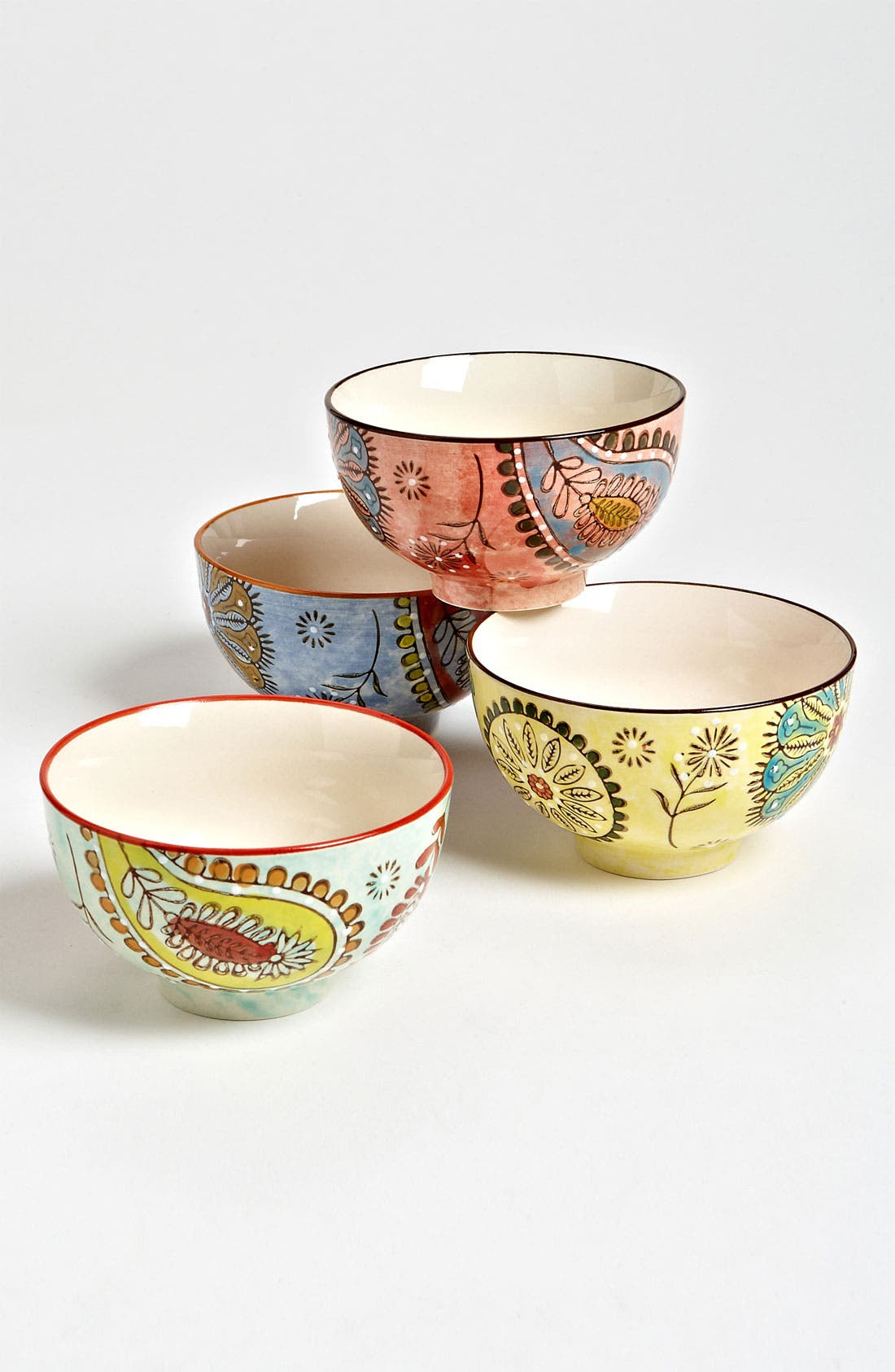 Alternate Image 1 Selected - Hand Painted Paisley Bowls (Set of 4)