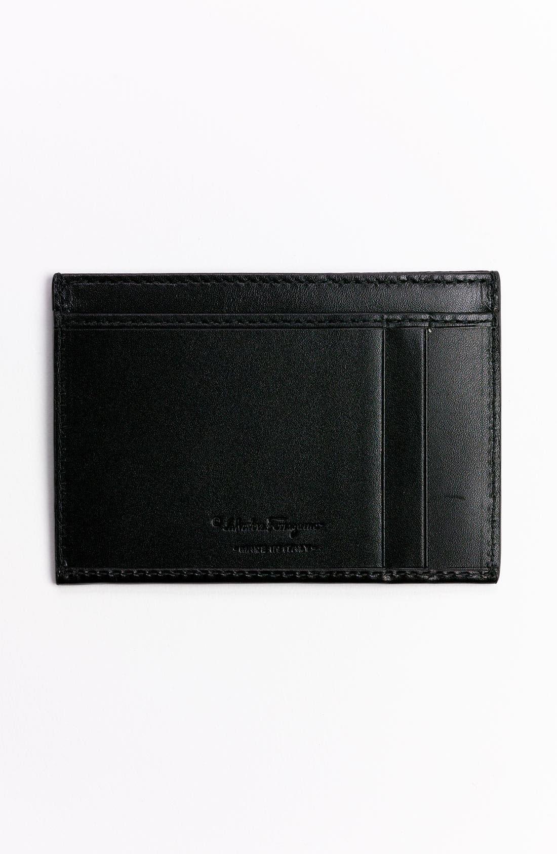 Alternate Image 2  - Salvatore Ferragamo 'Alpha' Leather Card Case