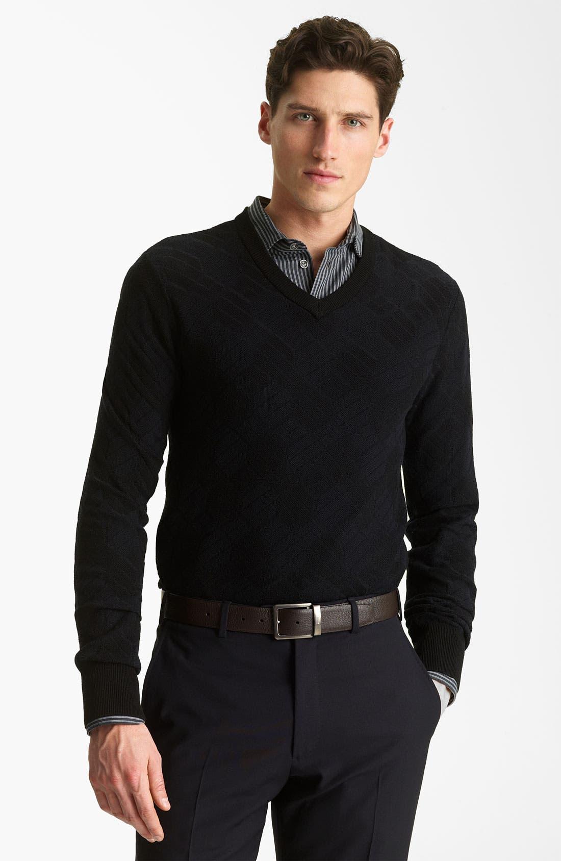 Alternate Image 1 Selected - Armani Collezioni V-Neck Knit Sweater