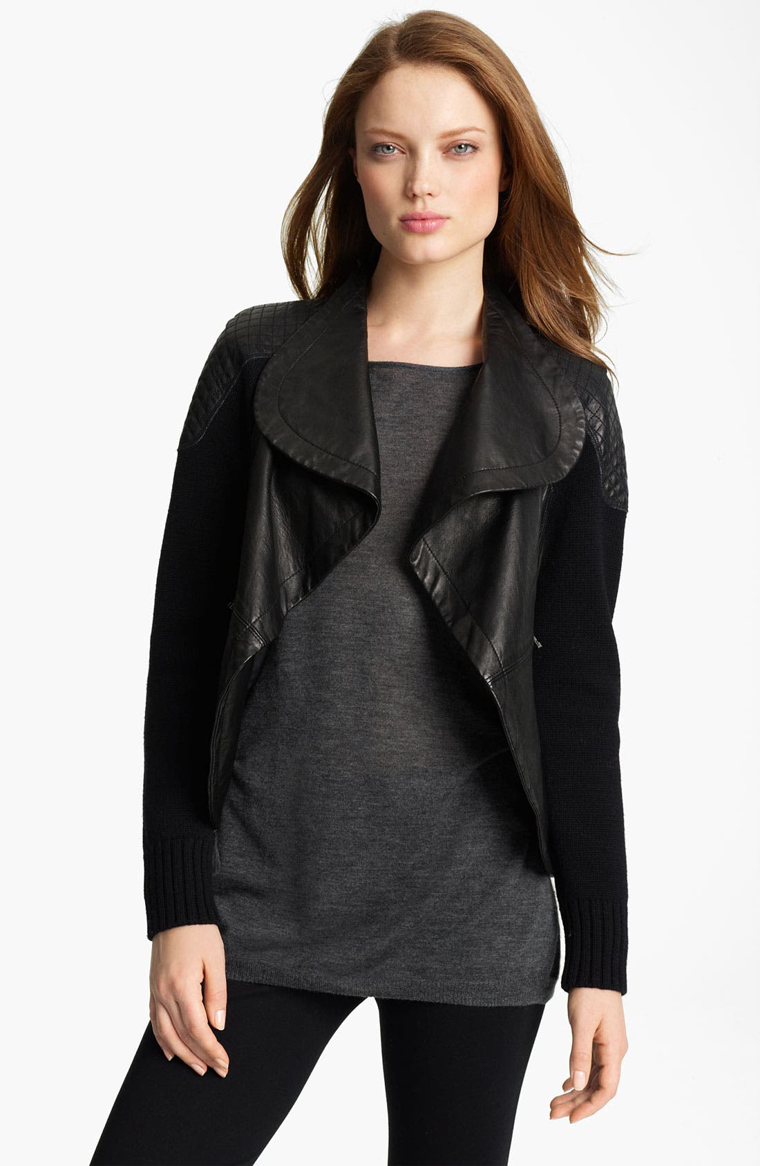 Alternate Image 1 Selected - Yigal Azrouël Drape Front Leather & Knit Jacket